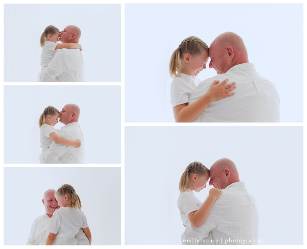 dad and daughter photo, backlighting, studio photography